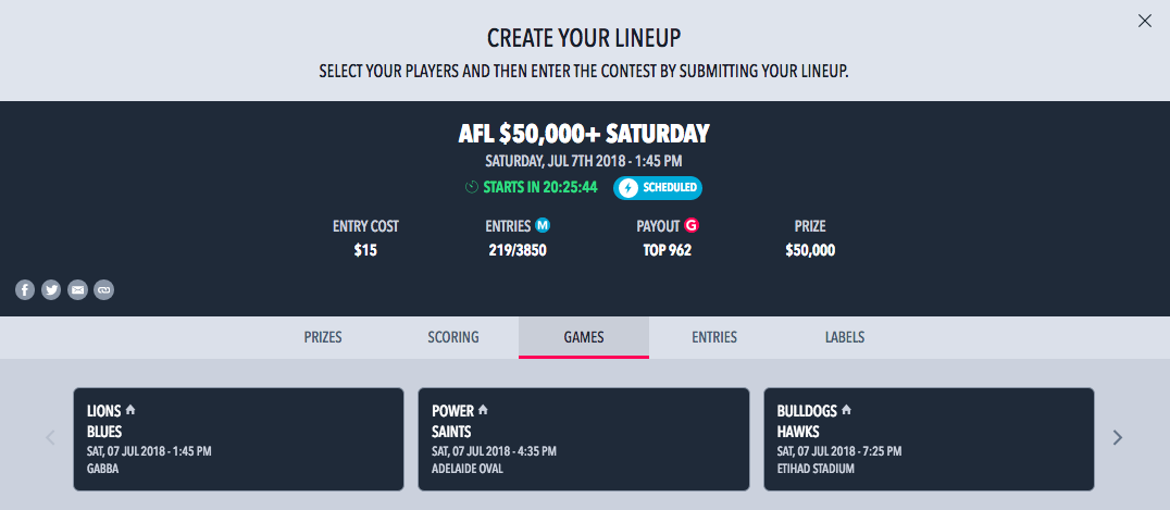 AFL Draftstars Round 16 Saturday Lobby