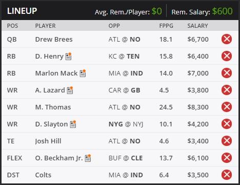 draftkings week 10 fantasy lineup
