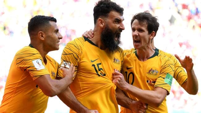 Socceroos celebrating goal