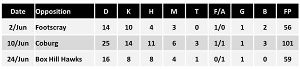 Travis Colyer VFL stats