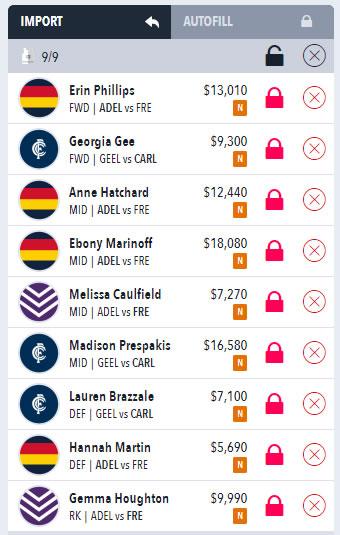 AFLW Draftstars Sample Lineup