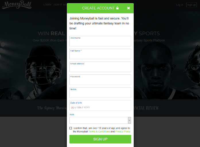 Moneyball Create Account