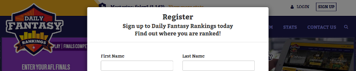 Daily Fantasy Rankings Register