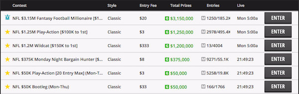 nfl draftkings tournament