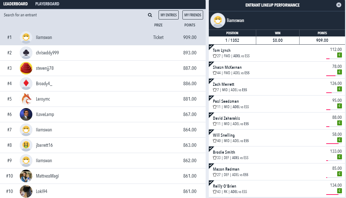 Draftstars results