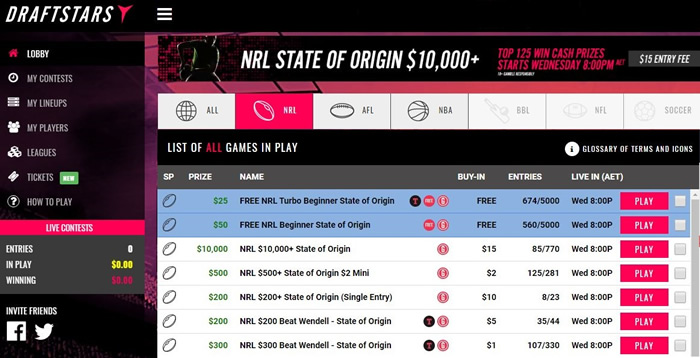 Draftstars State of Origin