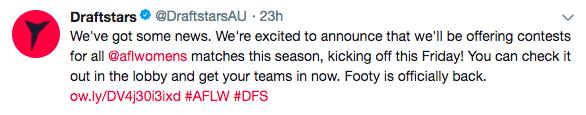 draftstars AFLW tweet
