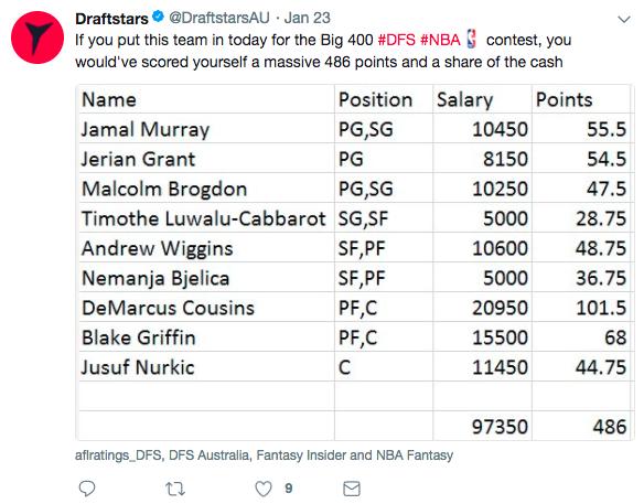 draftstars 400 tweet