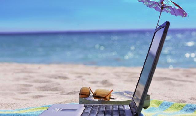 Laptop beach