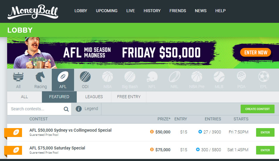Moneyball AFL Lobby