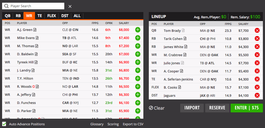 nfl screenshot draftkigns