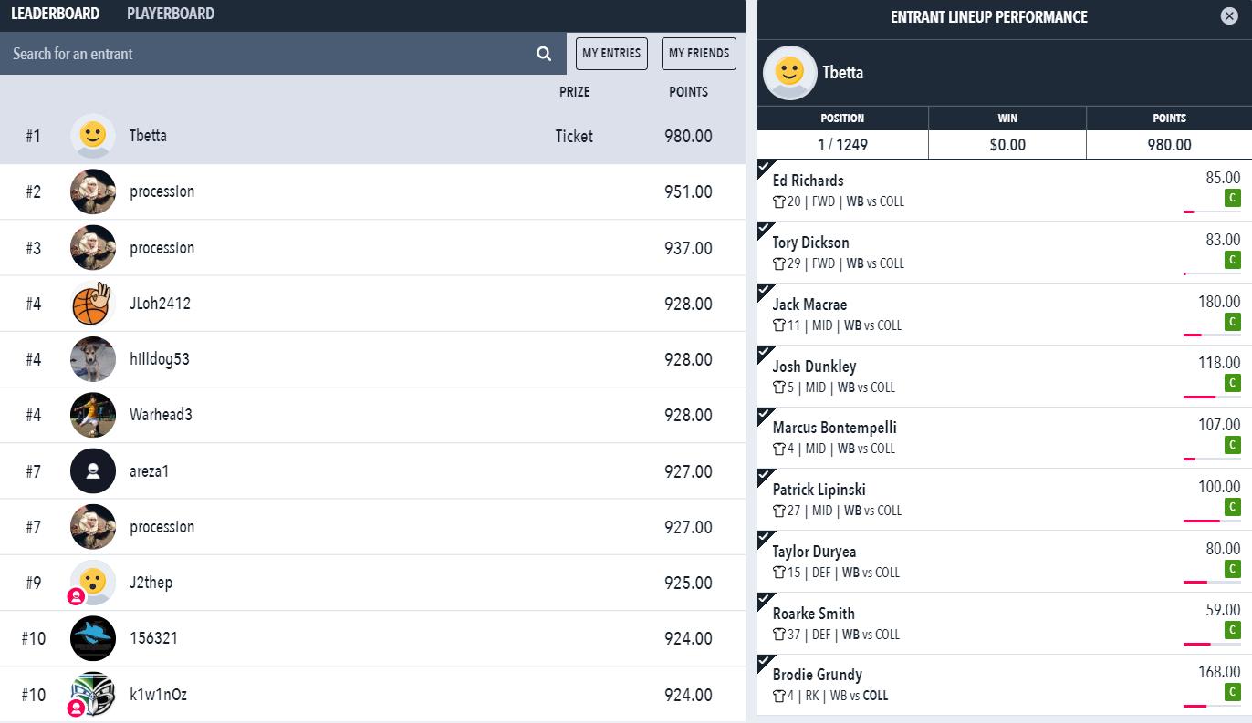 Tbetta Draftstars results